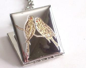 Lovebird Locket, Vintage Silver Book Locket, Vintage Etched Bird Lovebirds Silver tone Rectangular Large Photo Locket Necklace