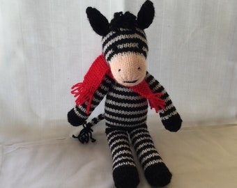 Zigzag the Zebra. Hand-knitted soft toy.
