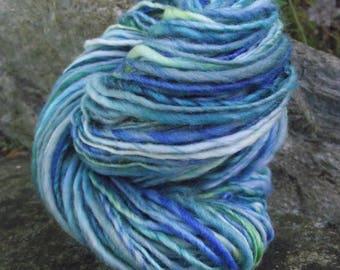 Handspun yarn, handpainted Merino wool worsted yarn, thick and thin, Poseidon