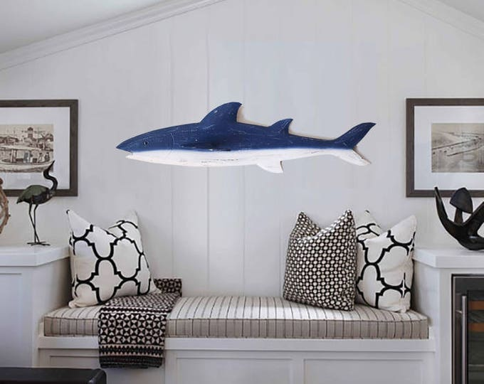 "Beach Décor 32"" Shark Wood Sign Blue,  by SEASTYLE"