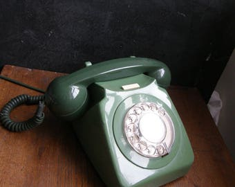 Amazing 1960s two tone green telephone with working dial surround ,, Free uk postage