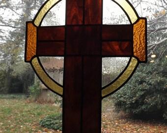Stained Glass Cross Hanger - Simple Celtic Cross