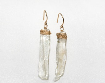Long Raw Selenite Drop Earrings Wrapped in Gold Filled Wire. Stone Earrings. Stone Jewelry. Handmade Jewelry. Free Shipping from Israel