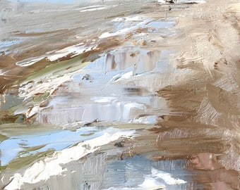 Lonely rider on the beach, plein air seascape with a horse, original oil painting