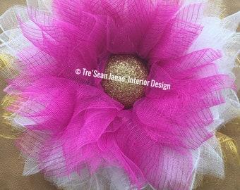 Deco mesh Flower Wreaths, Summer Wreaths, Spring Wresths, Flower Wreaths