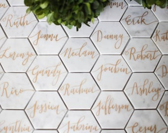 Custom listing for Emily 100  2-Inch// Customized Calligraphy Hexagon Marble Coasters.
