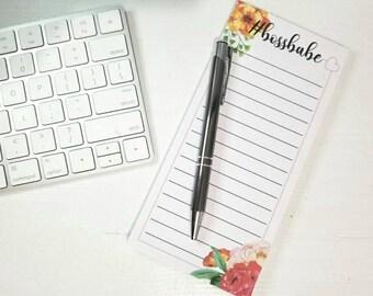 Handmade Notepad, notepad, Bossbabe, Office Desk Notepad, To Do List