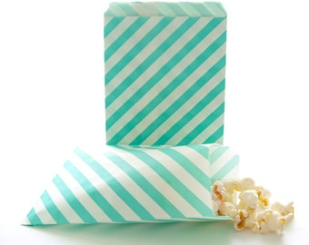 Striped Goodie Bags, Birthday Giveaways, Welcome Wedding Bags, Striped Popcorn Bags, 25 Pack - Teal Green Stripe Paper Bags