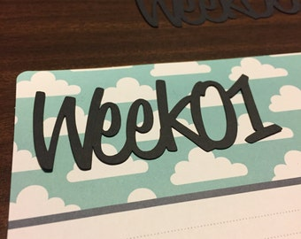 Week with number die cut for Project Life