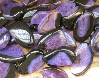 10pcs -Large Black Purple agate Pendant 40x60mm- SIMILAR AS PICTURED
