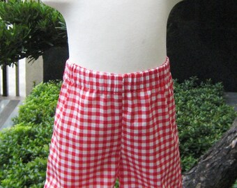 Girl Ruffle Pant, Toddler Ruffle Pant, Red Gingham Double Ruffles Pant, Red Ruffle Pant, Red and White Girl Ruffle Pant, Christmas Pants