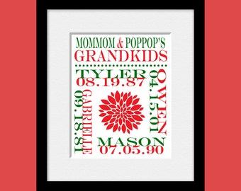 Grandparents Christmas Gift, Personalized Grandparent Gift, Grandparents Gift, Grandchildren Names and Birthdate Print, Anniversary Gift