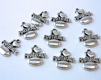 I Love Football Charms Set of 10 Silver Color 20x18mm
