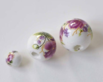 20 pcs Hand Painted Red Flower Chinese Ceramic Beads 6mm/8mm/10mm/12mm/14mm/18mm