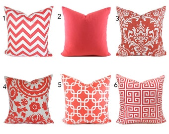 Pillow Covers ANY SIZE Decorative Pillow Cover Coral Pillow Salmon Pillows Ikat Pillow Chevron Pillow You Choose