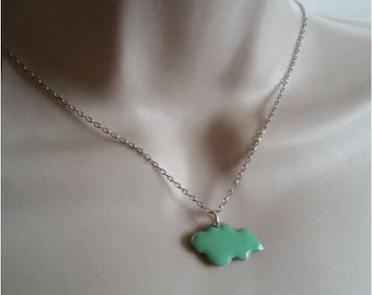 Turquoise cloud necklace and silver chain