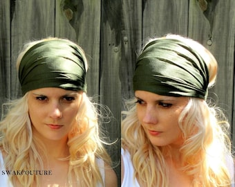 Army Green Yoga Headband, Stretchy Cotton Jersey Wide Headband Women's Workout Running HeadBand Hair Wrap - Choose Your Color