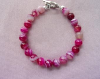 Pink Banded Agate bracelet