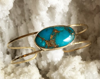 Copper turquoise brass hammered cuff