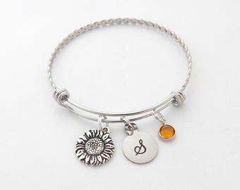 Sunflower Charm Bracelet, Sunflower Jewelry, Flower Jewelry, Sunflower Gift, Personalized, Flower girl gift, loyalty and longevity gift