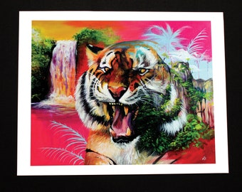 "Giclee PRINT. ""Panthera Tigris"" pink tiger with rainforest print. Limited edition on 11x14 inches museum quality 100% cotton rag paper"