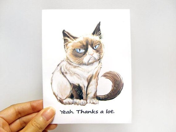 Sale grumpy cat card set of 4 thank you card personalized sale grumpy cat card set of 4 thank you card personalized message custom name note cards sarcastic greeting cards funny cards bookmarktalkfo Image collections