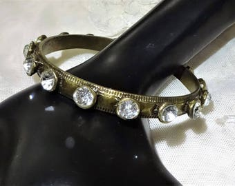 Vintage Brass Tone Rhinestone Bangle