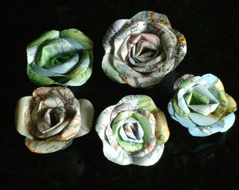 tiny mini map atlas recycled roses with flat backs for hair pins or scrapbook pages wedding decorations