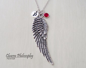 Huge Angel Wing Necklace - Memorial Jewelry - Monogram Personalized Initial and Birthstone