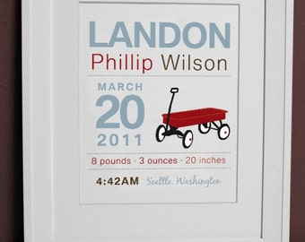 8 x 10 - Custom Birth Announcement Print - WAGON Wall art