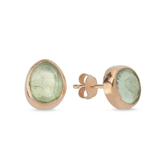 Silver Natural Green Amethyst Earrings, Rose Gold, Green Amethyst Earrings, GreenAmethyst Stud Earrings, Minimalist, February Birthstone,