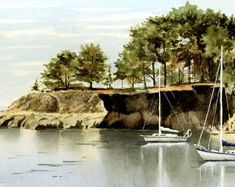 San Simeon Sailboats - Original Watercolor Painting by Artist DJ Rogers