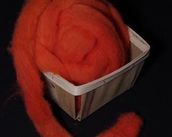 Hand-dyed wool roving for spinning,  felting or needle-felting JACK-O-LANTERN