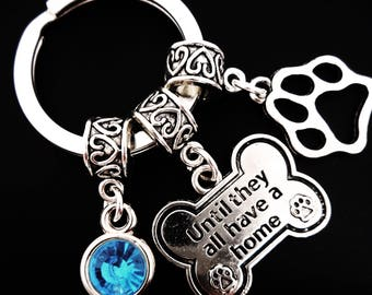 Animal Rescue Until They All Have a Home Silver Dog Bone Charm Keyring Keychain / Jewelry