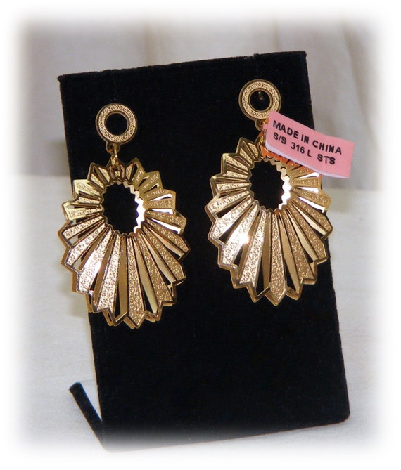 GOLD TONE DANGLE Earrings (Stainless Steel Base)