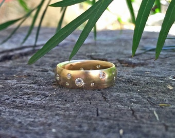 Wide Gold Diamond Wedding Band, Scattered Diamonds Ring ~ Yellow, Rose, or White Gold