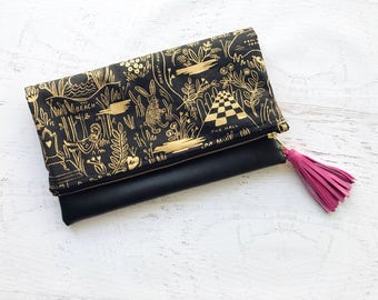 Wonderland Metallic Rifle Paper Co Canvas & Black Faux Leather Foldover Clutch - Gift for her, Birthday, Anniversary, Bridesmaid