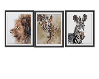 animal nursery art print boy nursery art Safari Nursery PRINT SET modern minimalist watercolor painting africa boy girl zebra giraffe lion