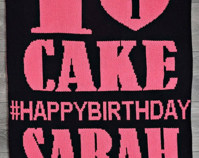 I Love Birthday Cake Custom Knit Baby & Stroller Blanket