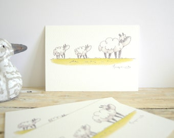 """Postcard """"sheep family: Mama sheep and their kids"""" - A6 watercolor Illustration - Occasion birth"""