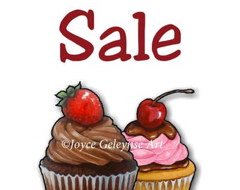 Printable BAKE SALE Sign with Artwork of Cupcakes: Pink and Brown, Chocolate and PInk Icing, Strawberries, Cherry, You Print