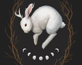Midnight Run, 8x10 fine art giclee print, jackalope painting, rabbit, witchy, archival print, gothic art, dark nature, occult artwork
