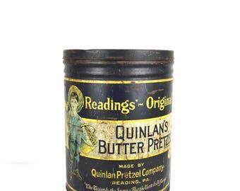 1930s Large Pretzel Canister Quinlans Butter Pretzels Large Advertising Pretzel Canister Antique Large Pretzel Can Reading Pennsylvania