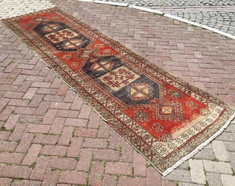 """Red Turkish runner, 142""""x41"""", Runner rug, Muted color runner, Hand knotted rug, Anatolian runner rug, Faded color rug, rustic runner, red"""