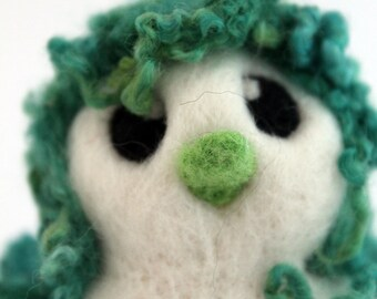 SALE Green Hairy Bird Needle Felted White One of A Kind Bird Verne