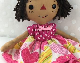 Cinnamon Annie Raggedy Ann Doll - Biracial Doll - African American Doll - Rag Doll - Girls Room - Hispanic Doll - Birthday Gift for Girls