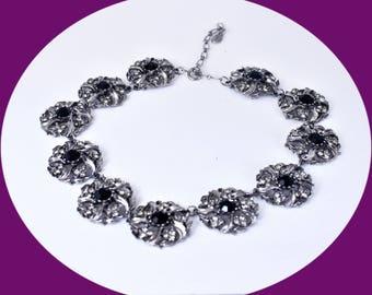 Statement Necklace Vintage Boho Choker Rhinestone Choker Chunky Necklace Vintage Jewelry Costume Jewelry Statement Jewelry Bridal Jewelry