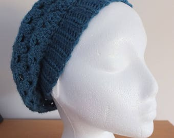 Teal/turquoise slouchy beret by Little Gems Crochet