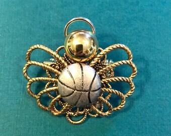 Basketball Angel Pin, Basketball Pin, Gift For Coach, Sports Pin, Team Gifts, Basketball Gifts, Angel Pin, Coach Gift, Basketball Mom
