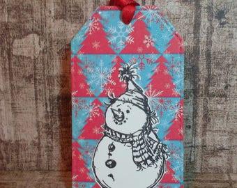 Chrismas gift tags, snowman gift tags, handmade tags,  Christmas tags, tags, snowman christmas tags, snowman tags
